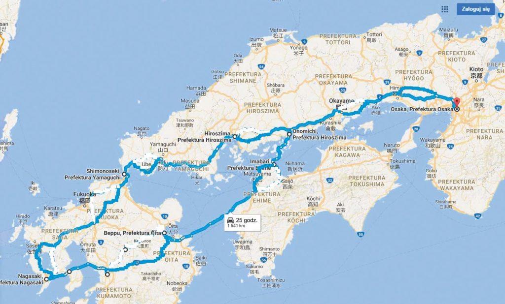 Wyspy i miasta na trasie: Honshu (Osaka, Okayama, Onomichi, Hiroszima, Shimonoseki), Kyushu (Kitakyushu, Saga, Nagasaki, Kumamoto, Beppu), Shikoku (Matsuyama, Imabari), Oshima, Hakata, Omishima, Ikuchi, Innoshima, Mukoujima, Honshu (Onomichi, Osaka).