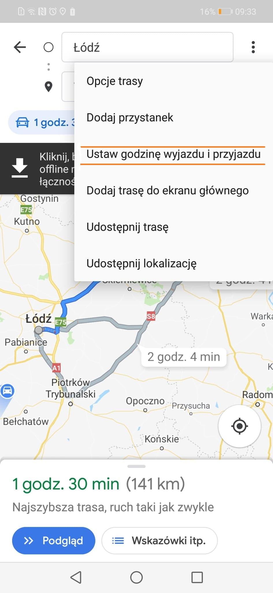 Mapa google - wyznaczanie trasy