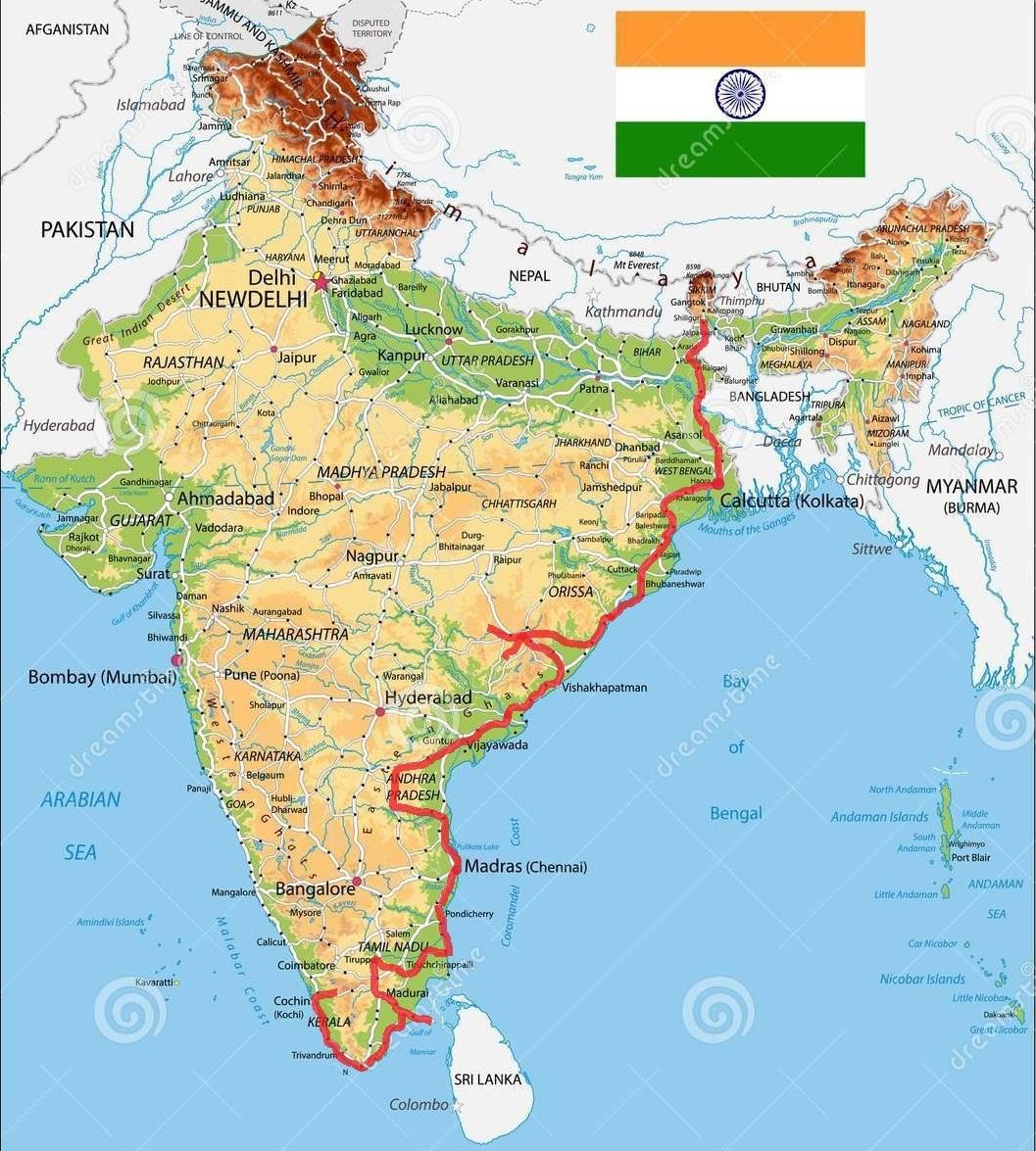 Mapa Indii z wyznaczoną trasą