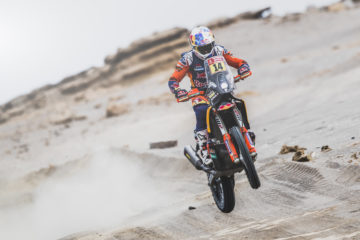 Sam Sunderland (GBR) of Red Bull KTM Factory Team races during stage 8 of Rally Dakar 2019 from San Juan de Marcona to Pisco, Peru on January 15, 2019.