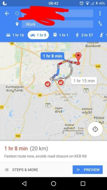 Mapa motocyklowa Google