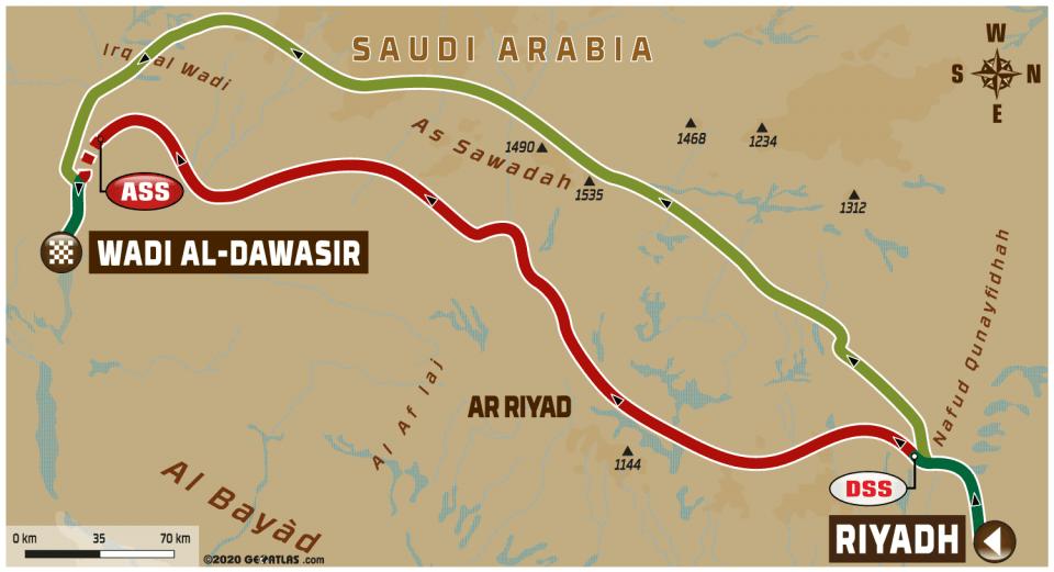 Dakar 2020, etap VII, mapa