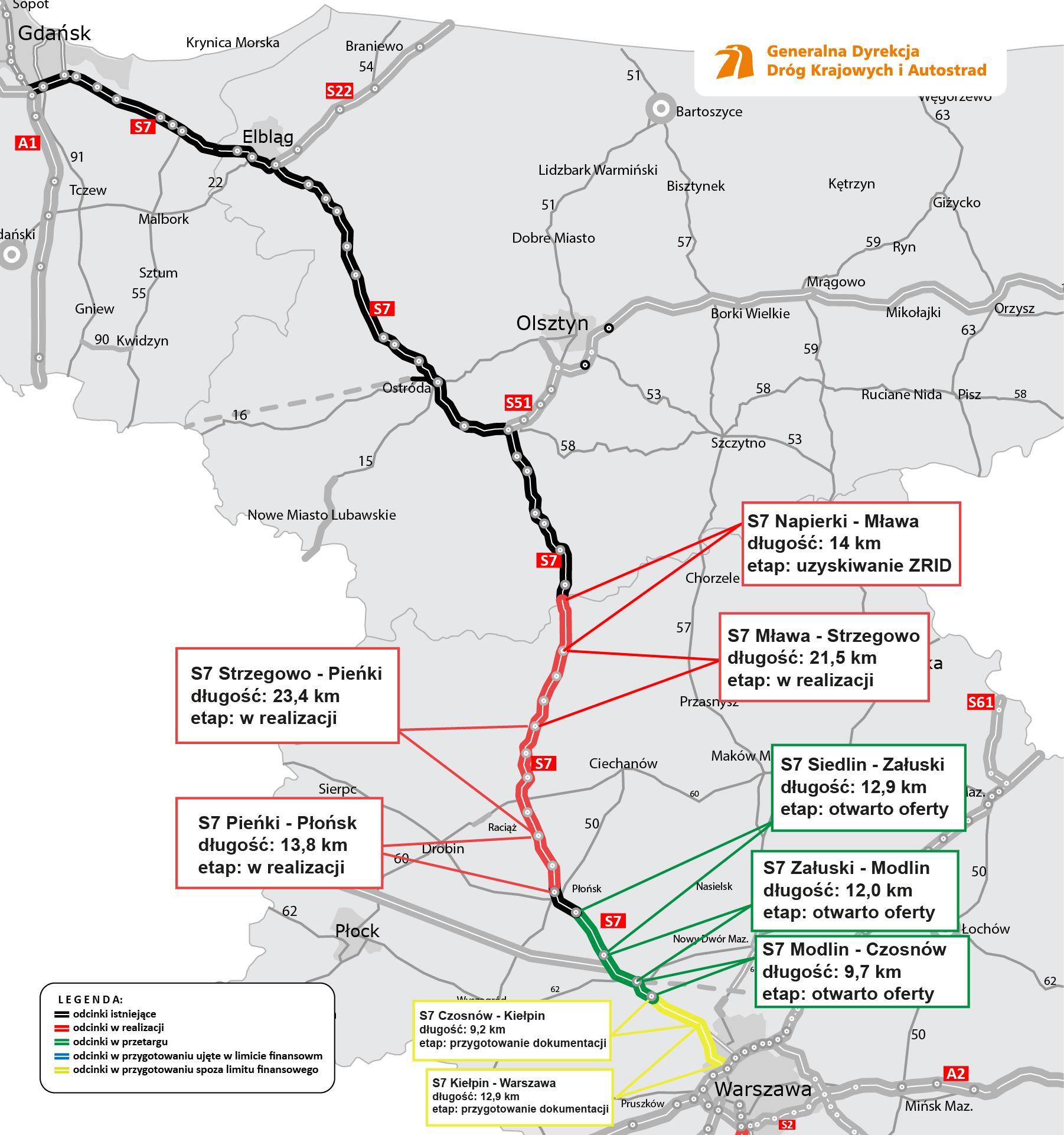 Mapa S7 - przebudowy w trakcie