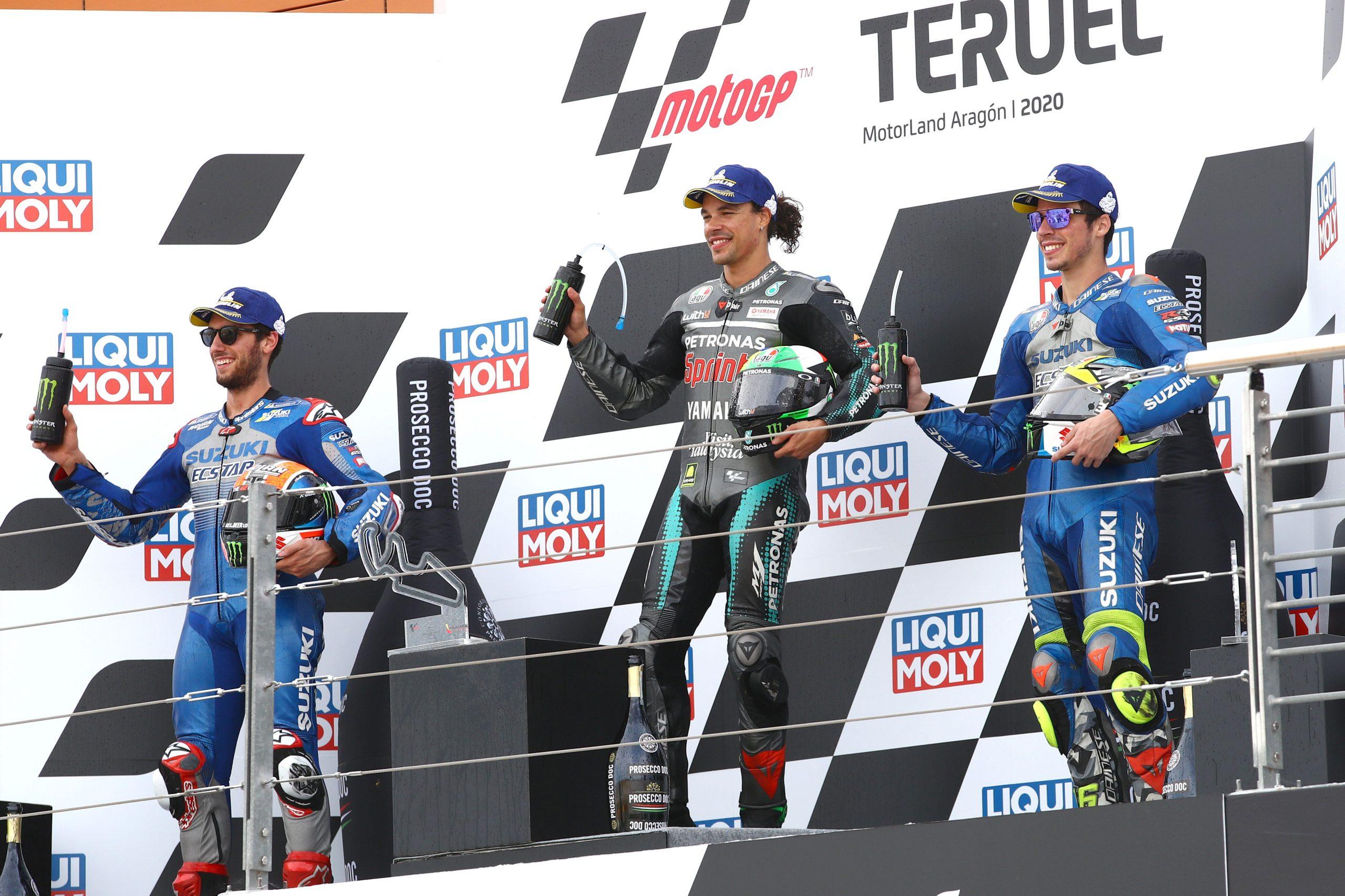 Alex Rins Franco Morbideli Joan Mir , MotoGP race. Teruel MotoGP. 25 October 202