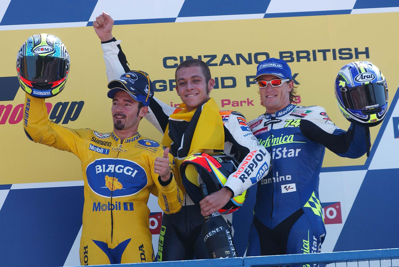 Max Biaggi, Valentino Rossi i Sete Gibernau na podium