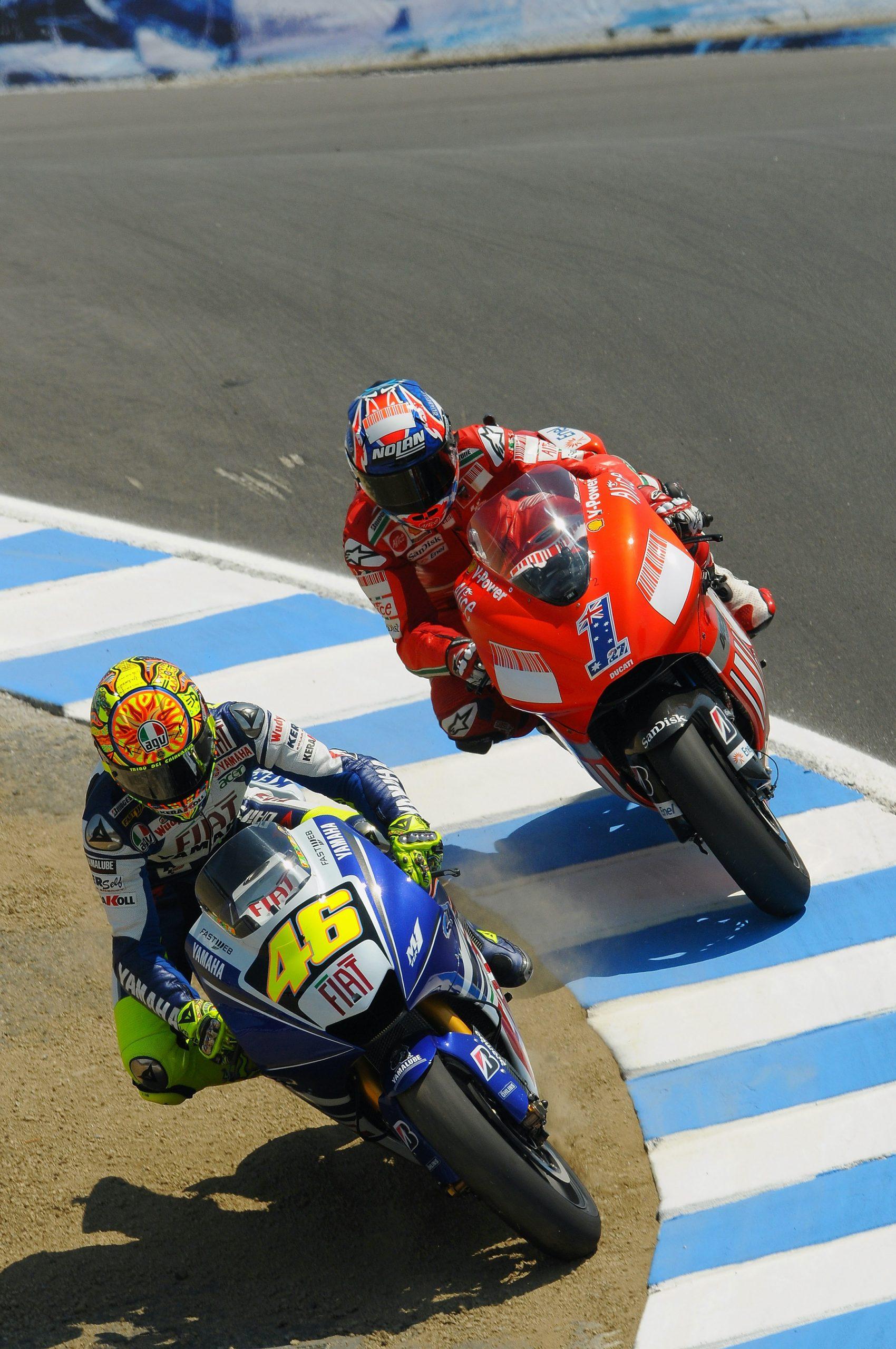 Valentino Rossi vs Casey Stoner na Laguna Seca w USA w 2008