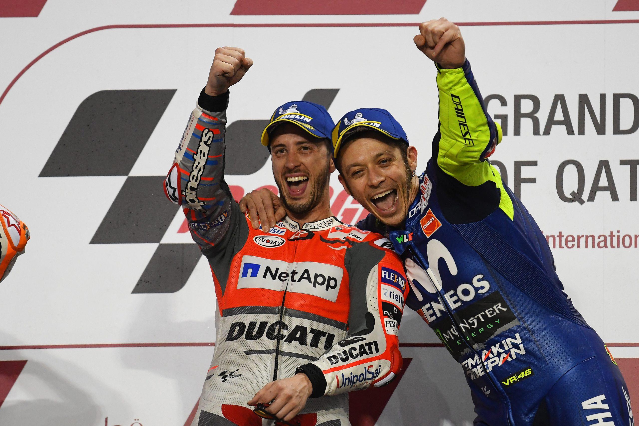 Andrea Dovizioso i Valentino Rossi razem na podium w Katarze