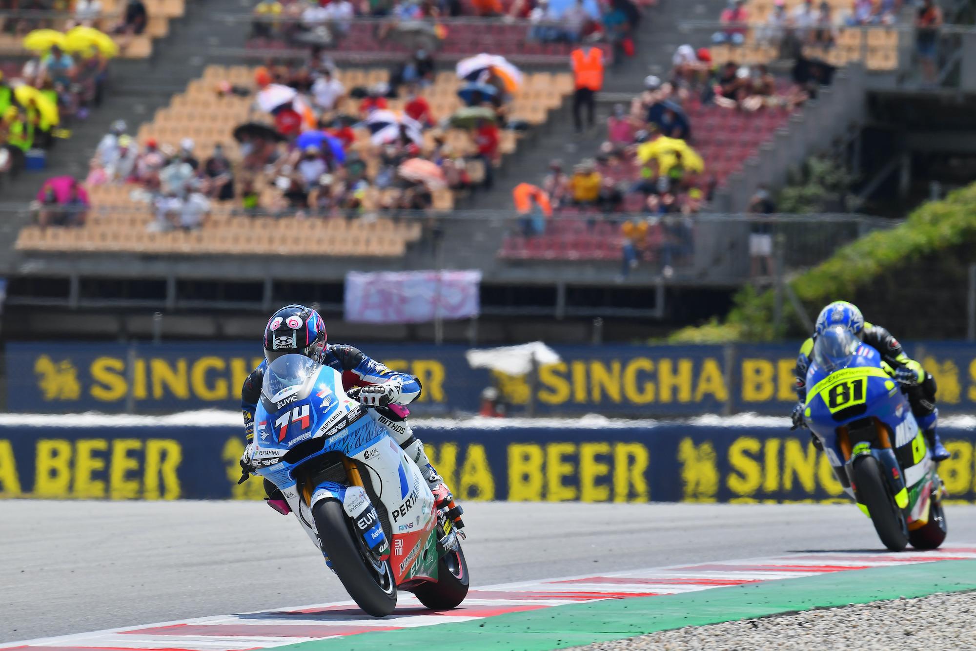 Piotr Biesiekirski podczas GP Katalonii Moto2 w Barcelonie
