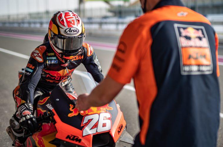 Dani Pedrosa podczas testów MotoGP w sezonie 2021 w Katarze