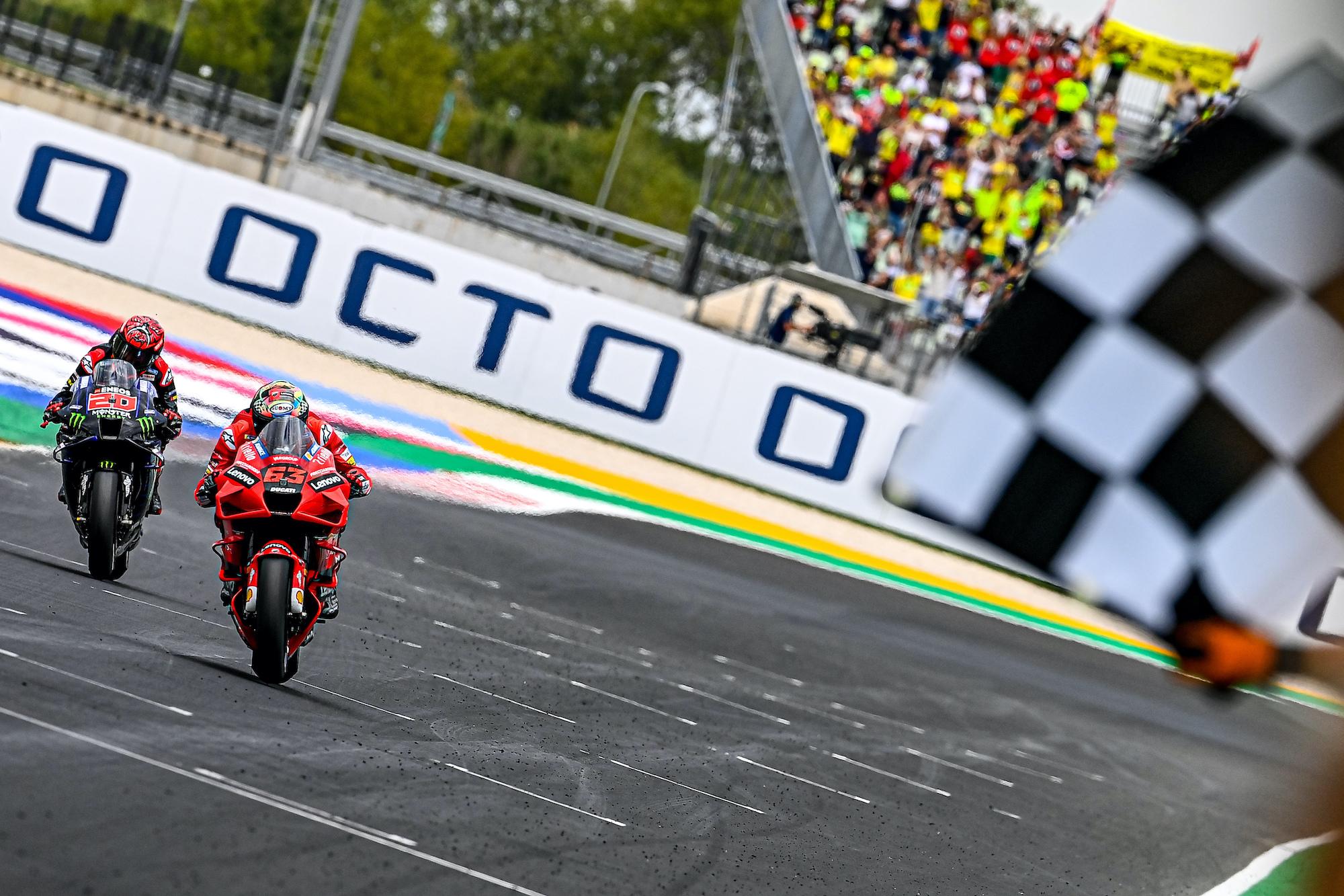 Pecco Bagnaia i Fabio Quartararo podczas GP San Marino 2021 w Misano